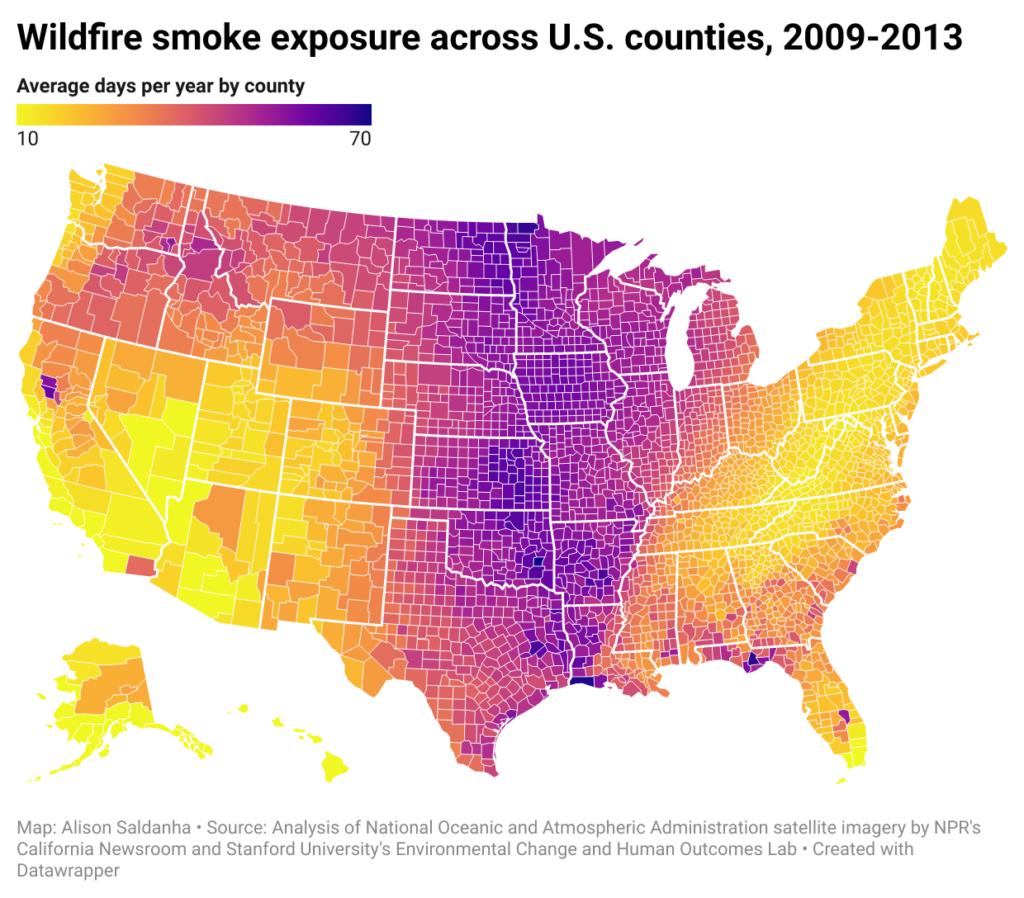 Wildfire smoke exposure across US Counties 2009-2013
