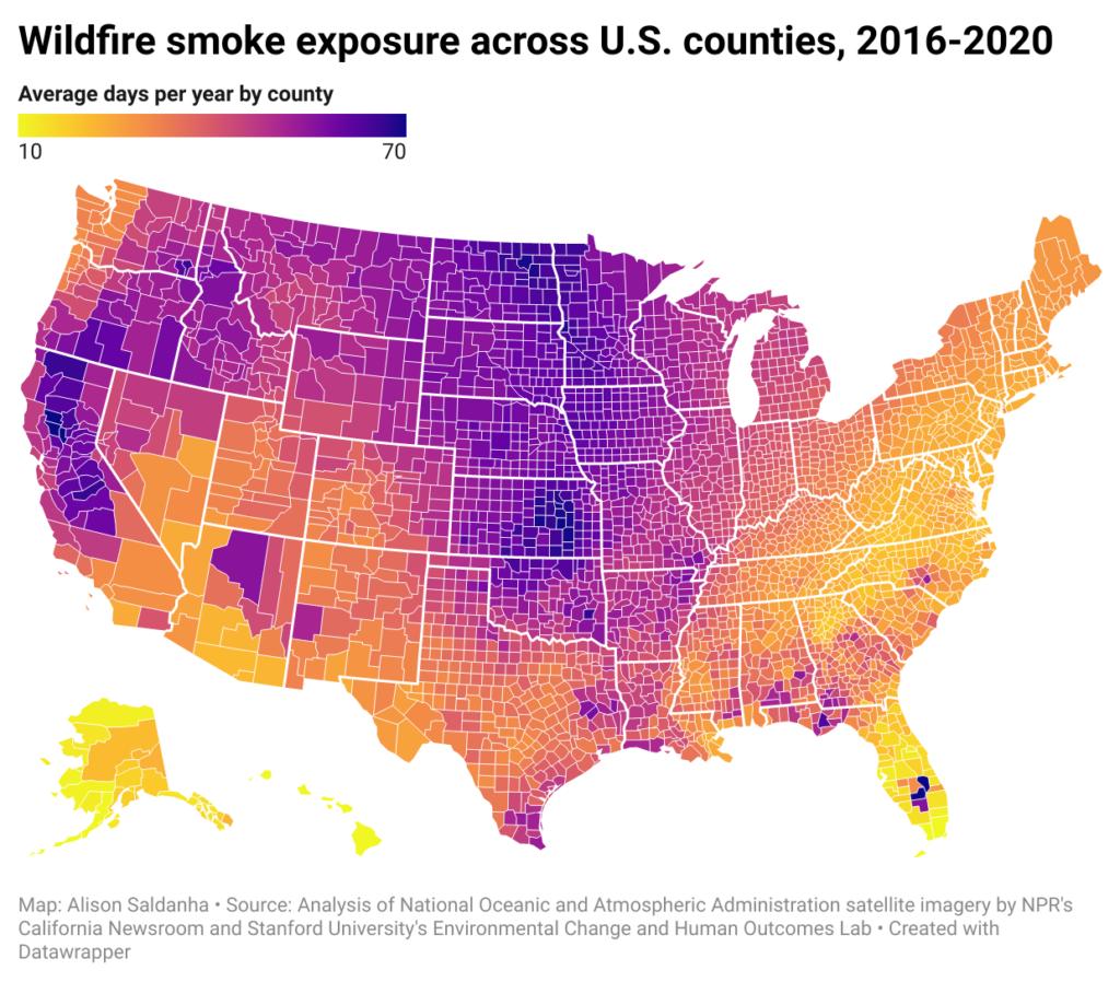 Wildfire smoke exposure across US Counties, 2016-2020