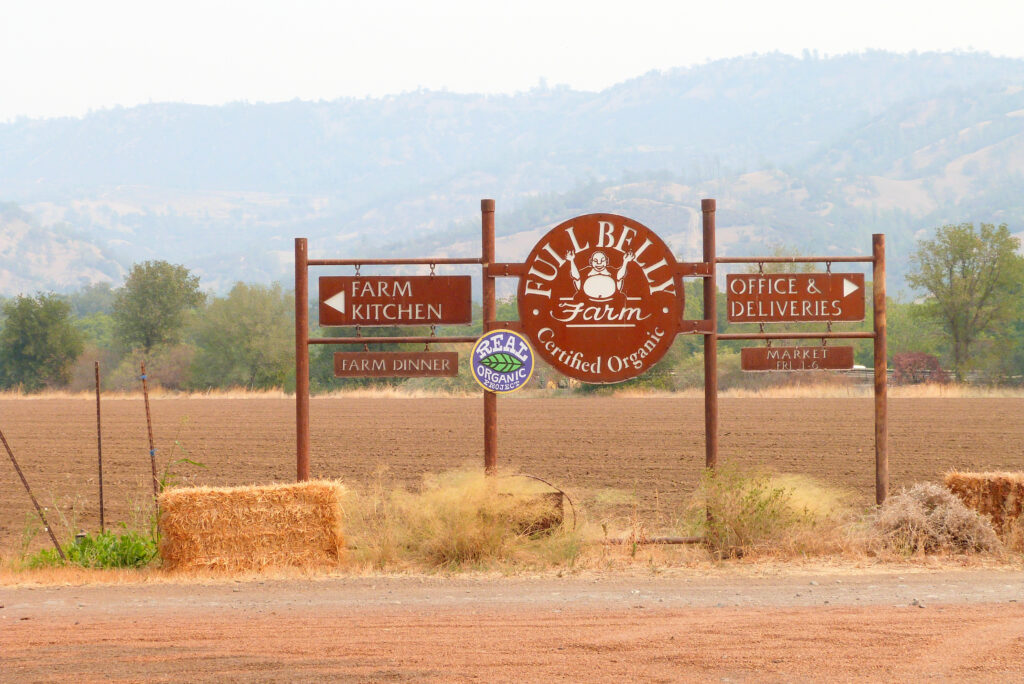 The entrance to Full Belly Farm, which sells organic produce and other farm products to restaurants, at farmers markets and through a community-supported agriculture program. Credit: Liza Gross
