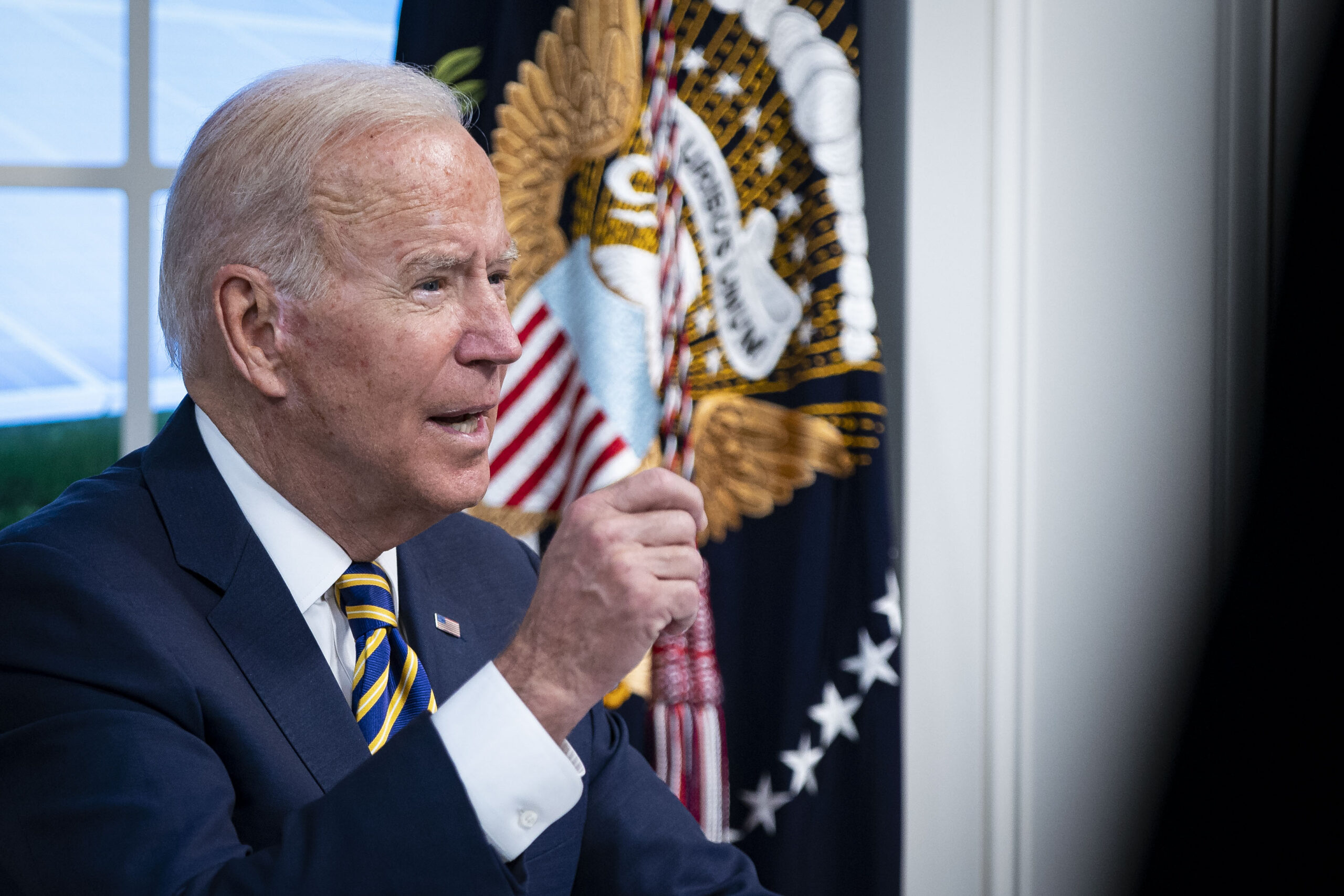 President Joe Biden speaks during a conference call on climate change with the Major Economies Forum on Energy and Climate on Sept. 17, 2021 in Washington, D.C. Credit: Al Drago/Getty Images