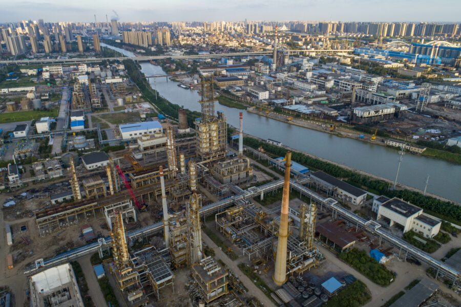 An aerial photo taken on Sept. 12, 2021 shows a chemical factory being dismantled and relocated along the Grand Canal in Huai 'an City, East China's Jiangsu Province. Credit: He Jinghua/Costfoto/Barcroft Media via Getty Images