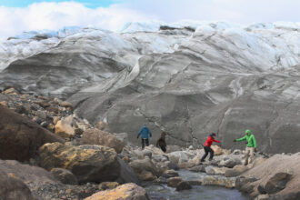 Researchers analyze glacial melt on July 10, 2013 in Kangerlussuaq, Greenland. Credit: Joe Raedle/Getty Images
