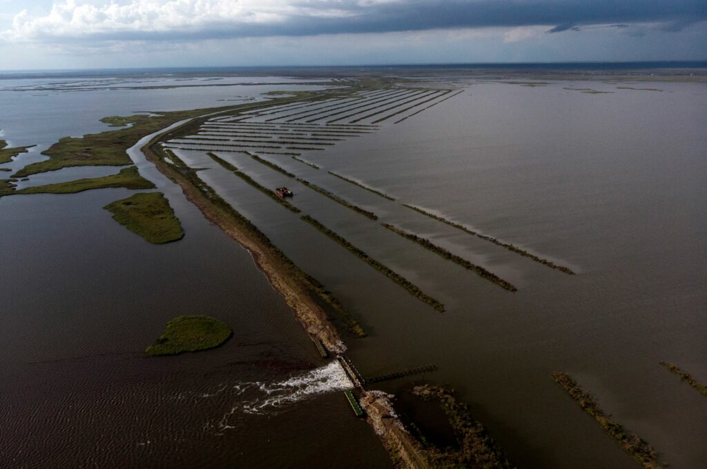 A water control structure in Pointe-Aux-Chenes, Louisiana on Aug. 31, 2021 after Hurricane Ida made landfall. Credit: Mark Felix/AFP via Getty Images