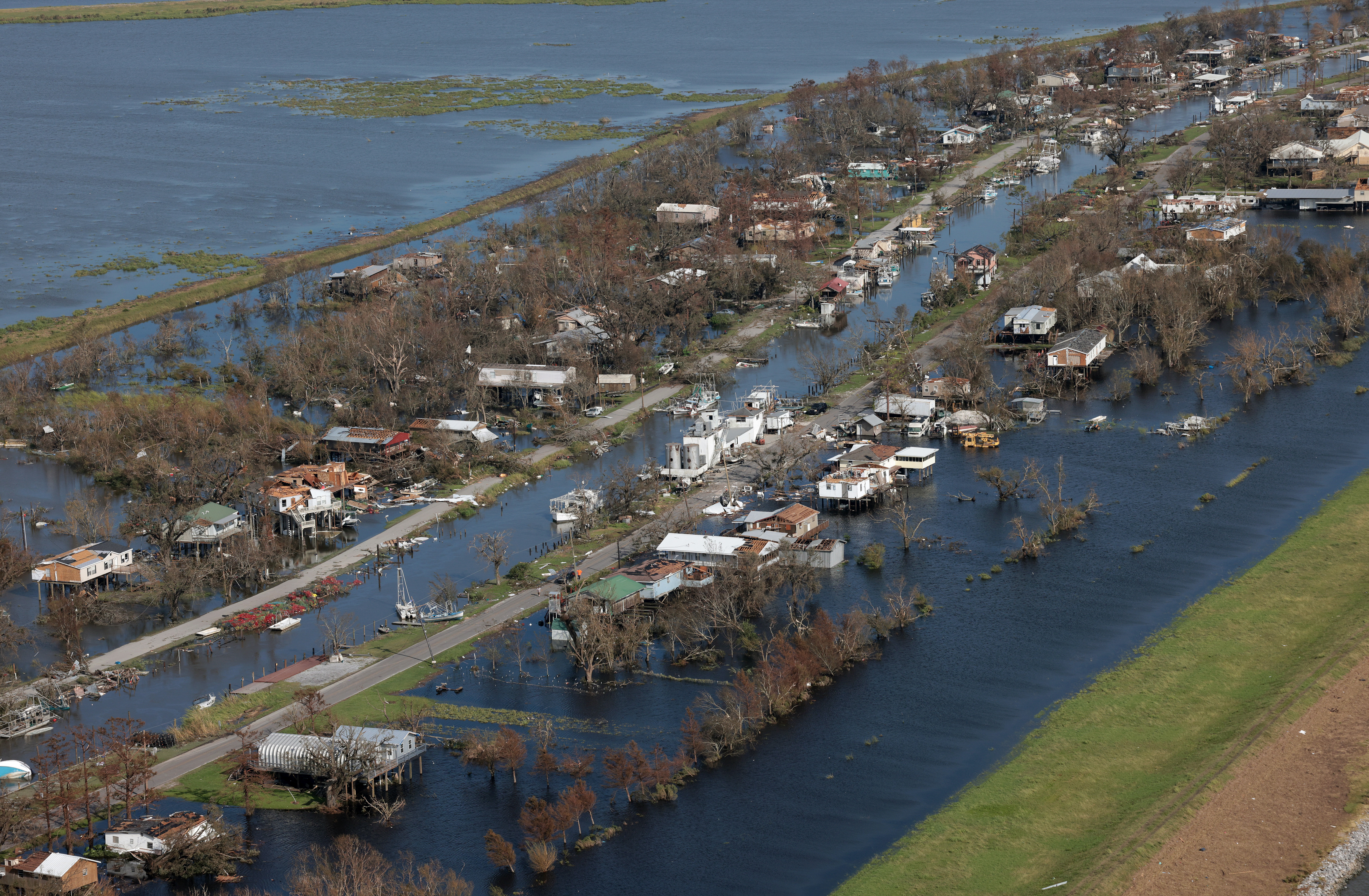 Destruction is left in the wake of Hurricane Ida on Aug. 31, 2021 near Point-Aux-Chenes, Louisiana. Ida made landfall Aug. 29 as a Category 4 storm southwest of New Orleans, causing widespread power outages, flooding and massive damage. Creidt: Win McNamee/Getty Images