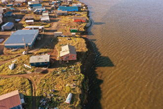 An aerial view from a drone shows how close some of the homes are to the lagoon on Sept. 13, 2019 in Kivalina, Alaska. Credit: Joe Raedle/Getty Images