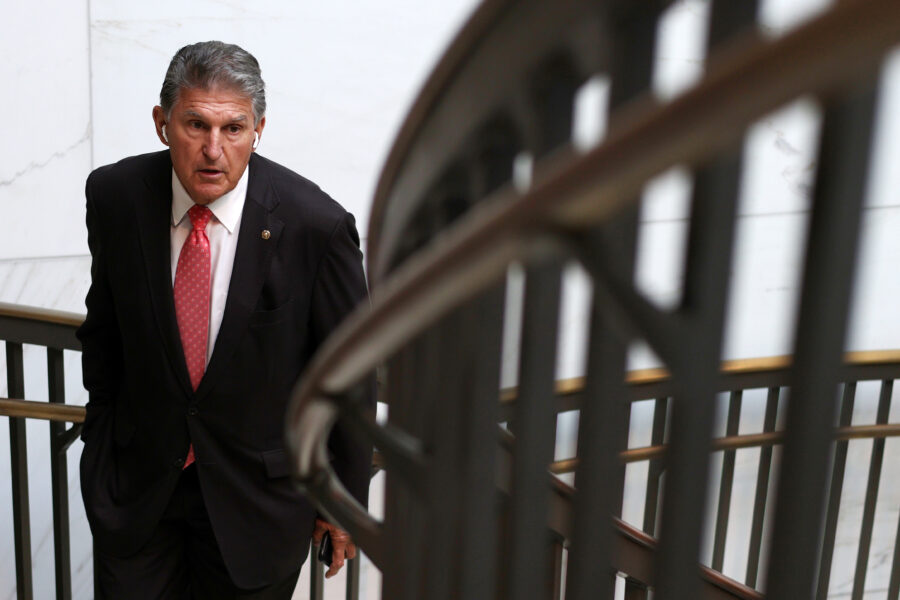 Sen. Joe Manchin (D-W. Va.) leaves a closed hearing of Senate Armed Services Committee Sept. 14, 2021 on Capitol Hill in Washington, D.C. Credit: Alex Wong/Getty Images