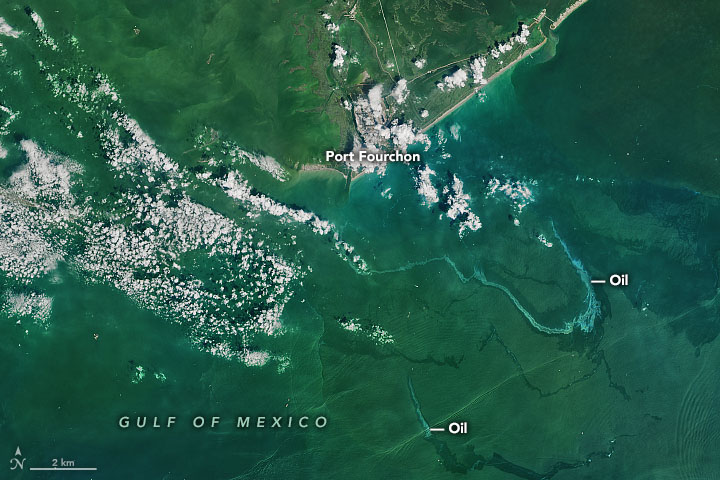 This natural-color image shows apparent oil slicks off the southeastern Louisiana coast near Port Fourchon, a major hub of the oil and gas industry on Sept. 3, 2021. Credit: NASA