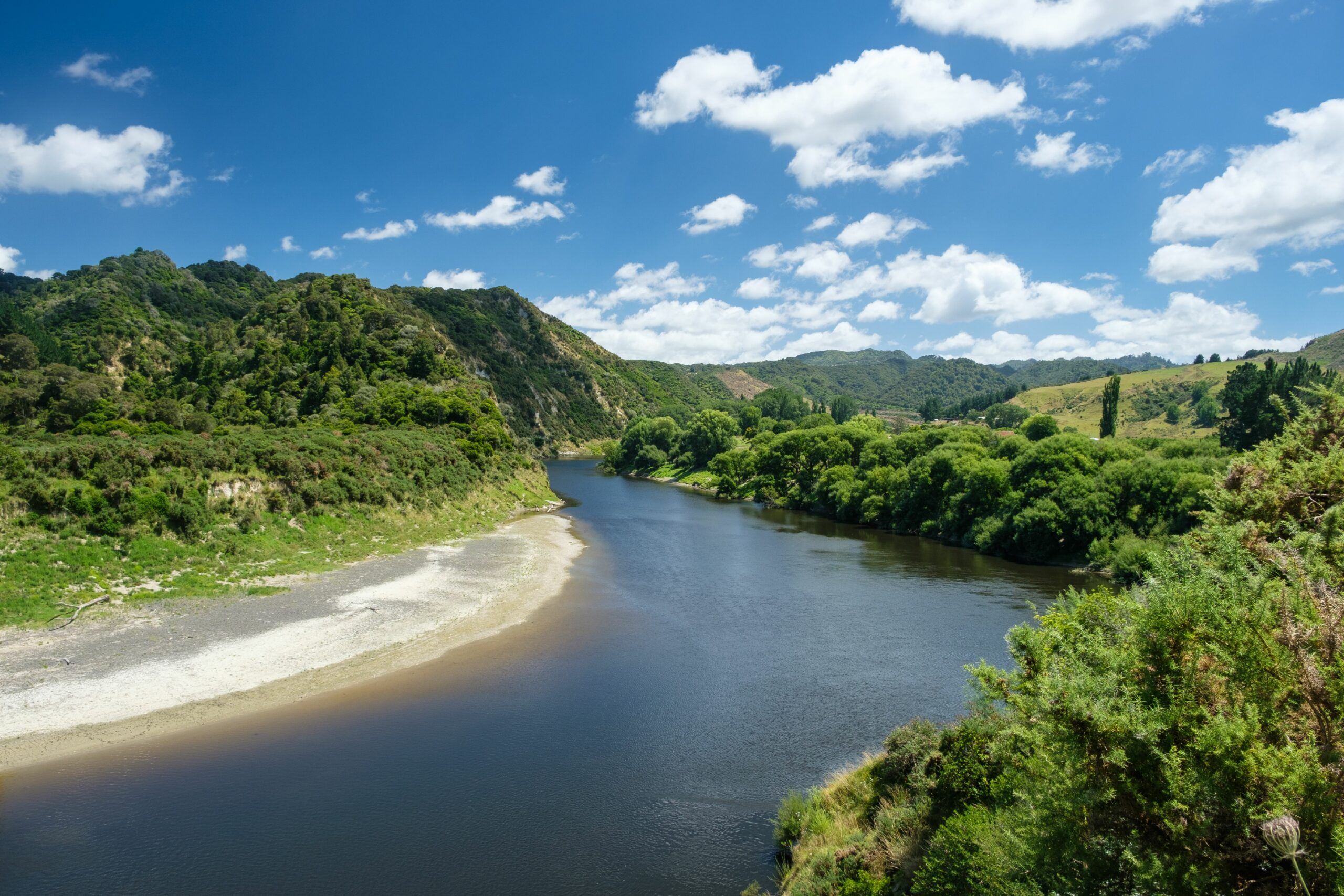 The Whanganui River near the entrance to Whanganui National Park, near Whanganui, North Island, New Zealand. Credit: Matthew Lovette/Education Images/Universal Images Group via Getty Images