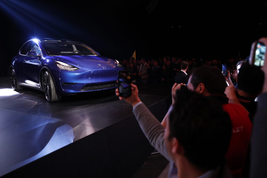 The Tesla Inc. Model Y crossover electric vehicle during an unveiling event in Hawthorne, California, U.S., on Friday, March 15, 2019. Credit: Patrick T. Fallon/Bloomberg via Getty Images