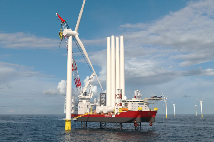 A Dominion Energy rendering shows a wind turbine installation vessel. Credit: Dominion Energy