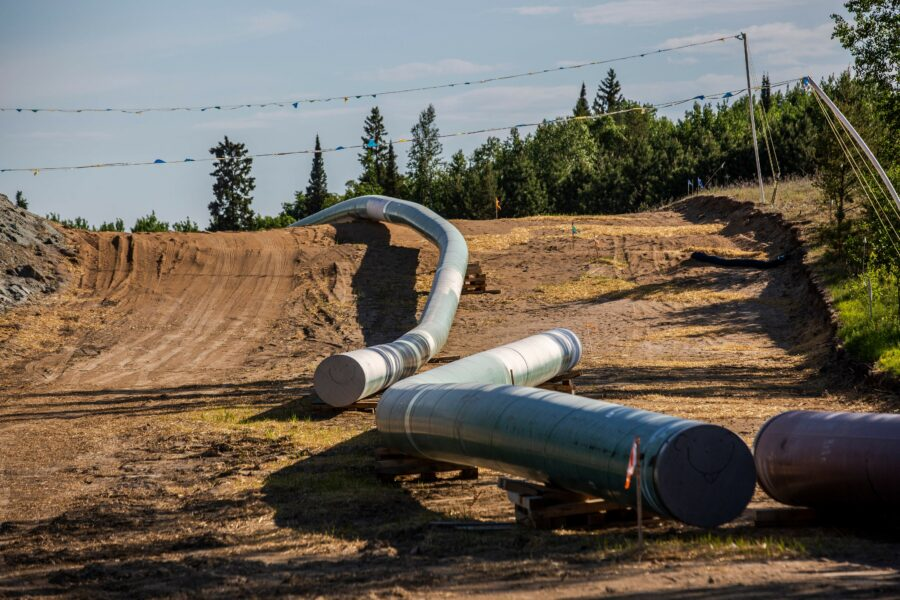 Sections of the Enbridge Line 3 pipeline on the construction site on the White Earth Nation Reservation near Wauburn, Minnesota in June 2021. Credit: Kerem Yucel/AFP via Getty Images