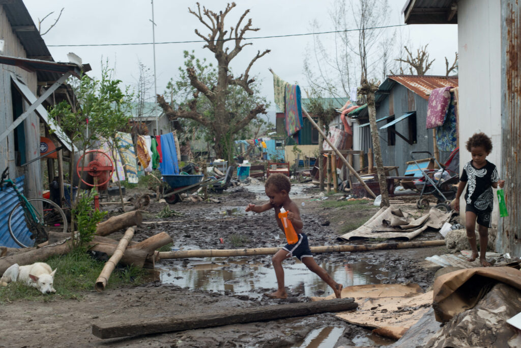 Residents contend with storm damage in Mele village on March 15, 2015 in Port Vila, Vanuatu after Cyclone Pam. Credit: UNICEF via Getty Images
